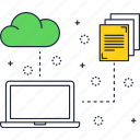 cloud, cloud storage, files, laptop, line, storage, thin icon