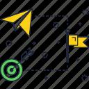 flag, line, plane, target, telegram, thin icon