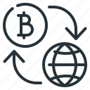 bitcoin, cryptocurrency, flow, globe, money flow icon