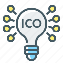 cryptocurrency, ico, idea, initial coin offering, investing, investment icon