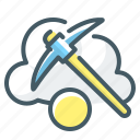 cloud, cloud mining, cryptocurrency, mining, pick icon