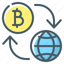bitcoin, cryptocurrency, cryptocurrency flow, flow, globe, money flow icon