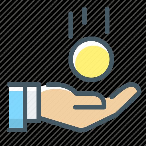 cryptocurrency, hand, money, profit icon