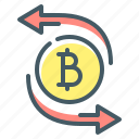 bitcoin, coin, cryptocurrency, transfer icon
