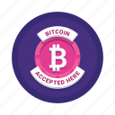 accepted, bitcoin, cryptocurrency, here icon