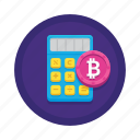 bitcoin, calculator, cryptocurrency icon