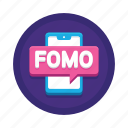 bitcoin, cryptocurrency, fomo icon