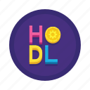 bitcoin, cryptocurrency, hodl icon