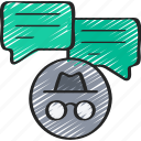 anonymous, cryptography, messages, messaging icon