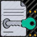cryptography, document, encrypt, key icon
