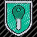 cryptography, key, shield icon