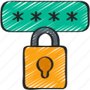 cryptography, encrypt, lock, password, private icon