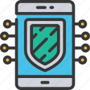 cryptography, cyber, mobile, phone, security icon