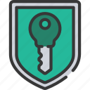 cryptography, key, shield icon