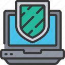 cryptography, laptop, shield icon