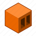 brown, cube, wall, bricklaying, airbrick, brick, red