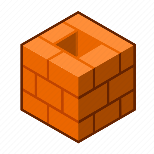 block, brick, bricklaying, brown, chimney, cube, red icon