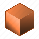 alloy, brick, bronze, brown, copper, cube, metal icon