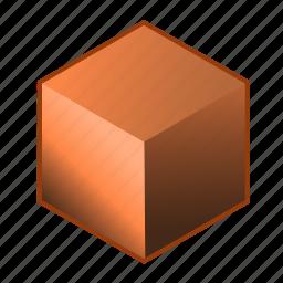 alloy, brick, bronze, brown, copper, cube, metal icon