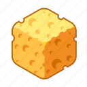 cheese, cube, holes, mouse trap, sponge, trap, yellow icon
