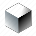 aluminum, cube, iron, metal, quad, square, steel icon
