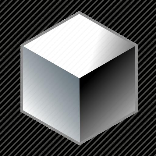 aluminum, cube, iron, metal, quad, square, steel icon