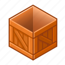 box, cube, new, open, pack, wood, wooden icon