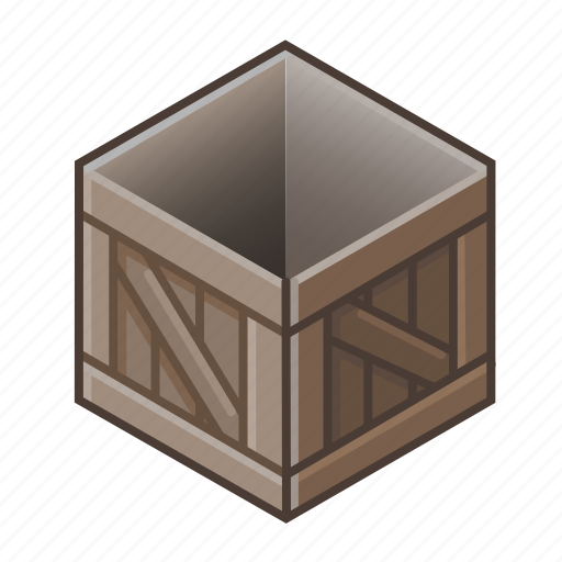 box, cube, old, open, pack, wood, wooden icon