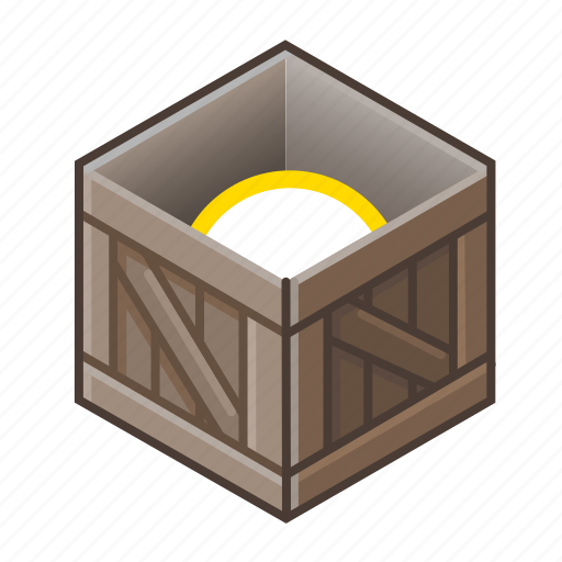 box, cube, item, old, open, wood, wooden icon