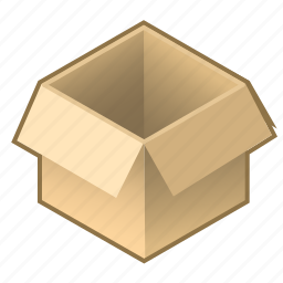 box, cardboard, cube, empty, open, pack, packing icon