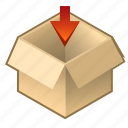 box, cardboard, cube, inside, open, pack, upload icon