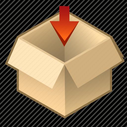 box, cardboard, cube, inside, open, pack, upload icon