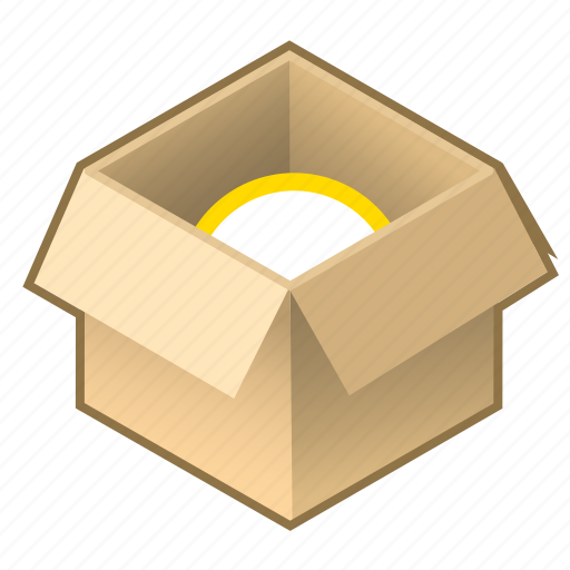 boxwith, cardboard, cube, inside, item, open, pack icon