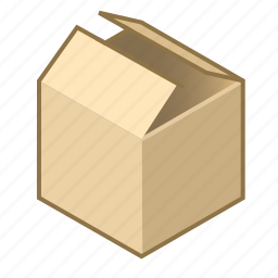 box, cardboard, cube, open, packing, removal, slightly icon