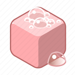 clean, cleaning, cube, pink, soap, wash, washing icon
