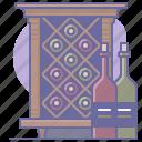 bottles, cabinet, cellar, cooking, culinarium, restaurant, wine icon