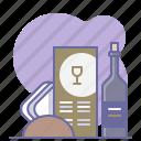 bottle, cooking, culinarium, desk, menu, restaurant, wine