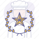 award, chef, cook, cooking, culinarium, mastery, star icon