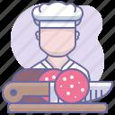 cooking, culinarium, food, kitchen, meat, salame, sausage