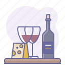 bottle, cheese, culinarium, cups, restaurant, sommelier, wine icon