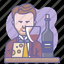 bottle, cheese, culinarium, cup, restaurant, sommelier, wine icon