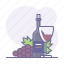 bottle, culinarium, cup, grapes, restaurant, sommelier, wine icon