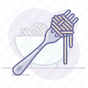 cooking, culinarium, dish, food, fork, pasta, spaghetti icon