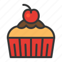 baked, bakery, cake, cherry, cupcake, dessert, muffin, sweets icon