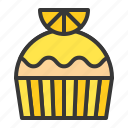 baked, bakery, cake, cupcake, dessert, muffin, orange, sweets icon