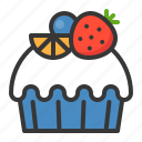 baked, bakery, cake, cupcake, dessert, fruit, muffin, sweets icon