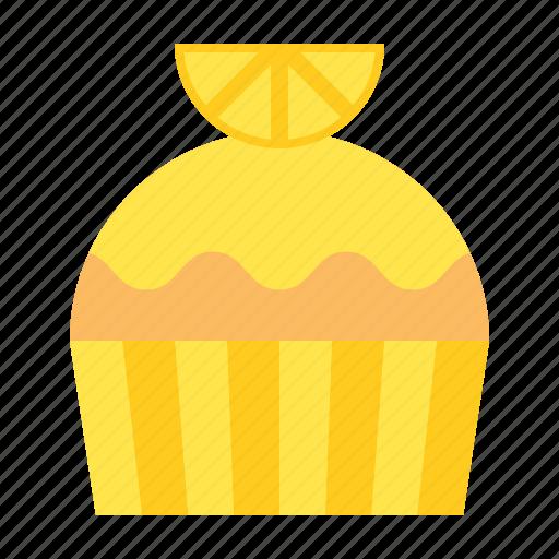 Cake, cupcake, dessert, food, lemon, muffin, sweets icon - Download on Iconfinder