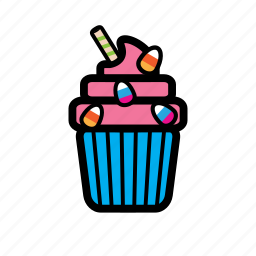 candy, cupcake, frosting, funfetti icon