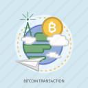bitcoin transaction, business, cloud, concept, currencies, finance, money icon