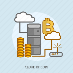 business, cloud bitcoin, concept, currencies, finance, money icon